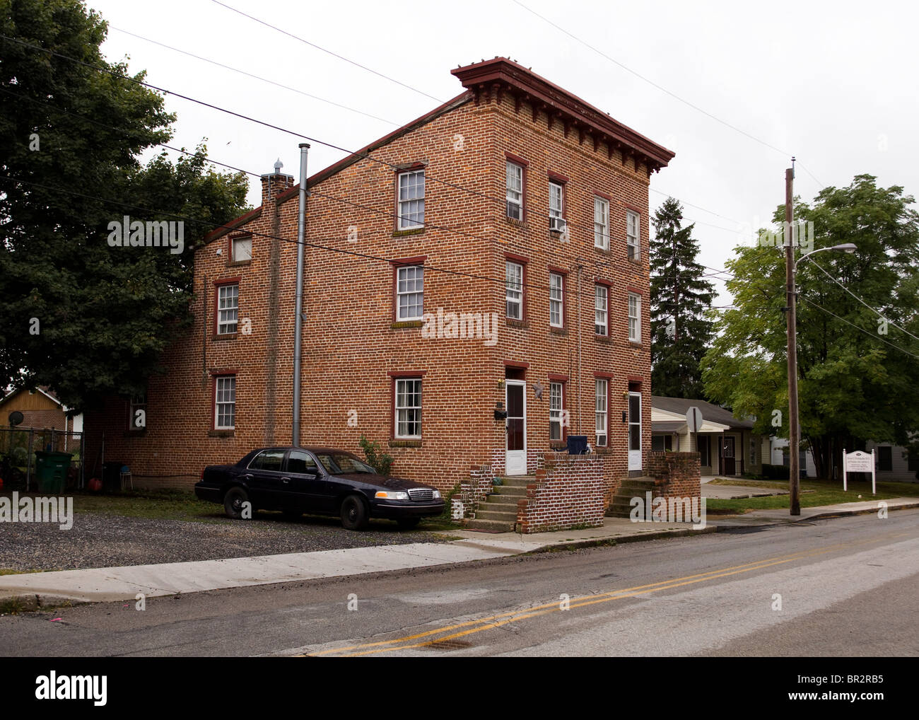 Old town brick duplex house - Stock Image