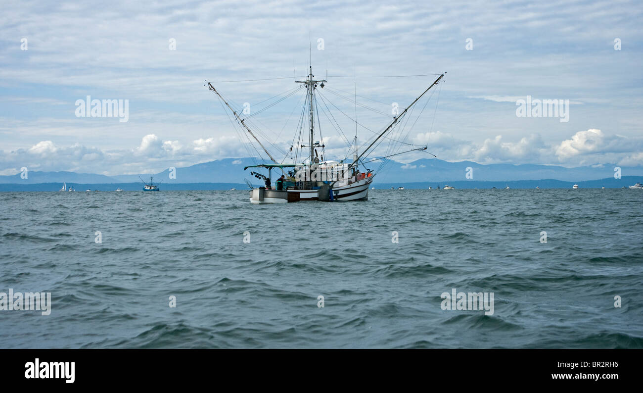 Commercial fishing boat trolling for Sockeye Salmon at the