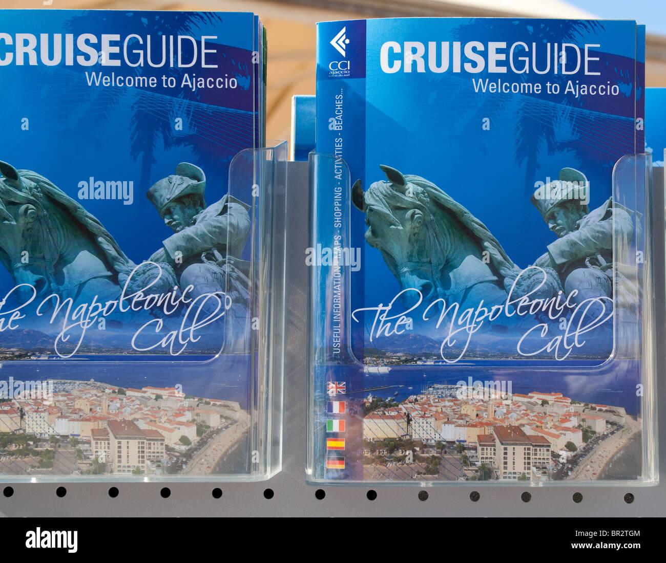 travel brochure for tourists Ajaccio Corsica - Stock Image