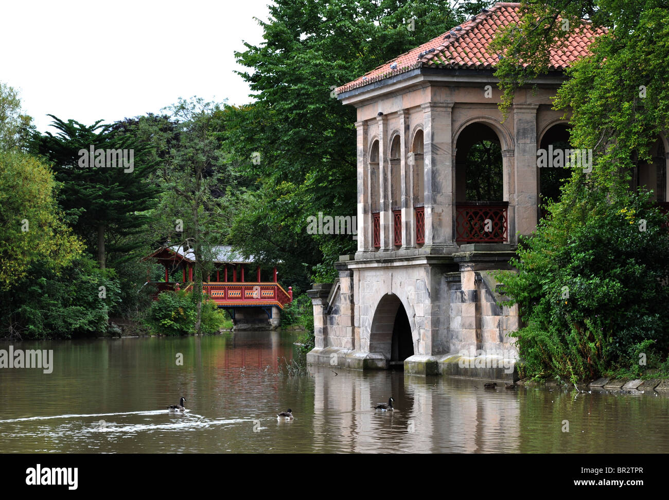 The Boathouse and Swiss Bridge in Birkenhead park, Birkenhead, Wirral, Merseyside - Stock Image