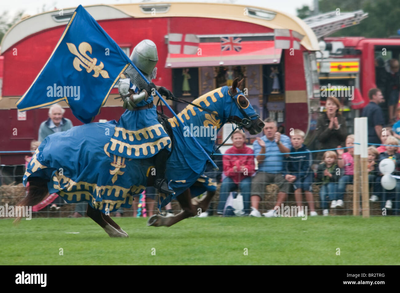 The Knights of the Damned medieval jousting team performing at the Essex Country show - Stock Image