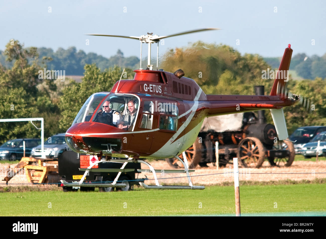 Bell Jetranger Helicopter landing  at the Essex Country Show - Stock Image