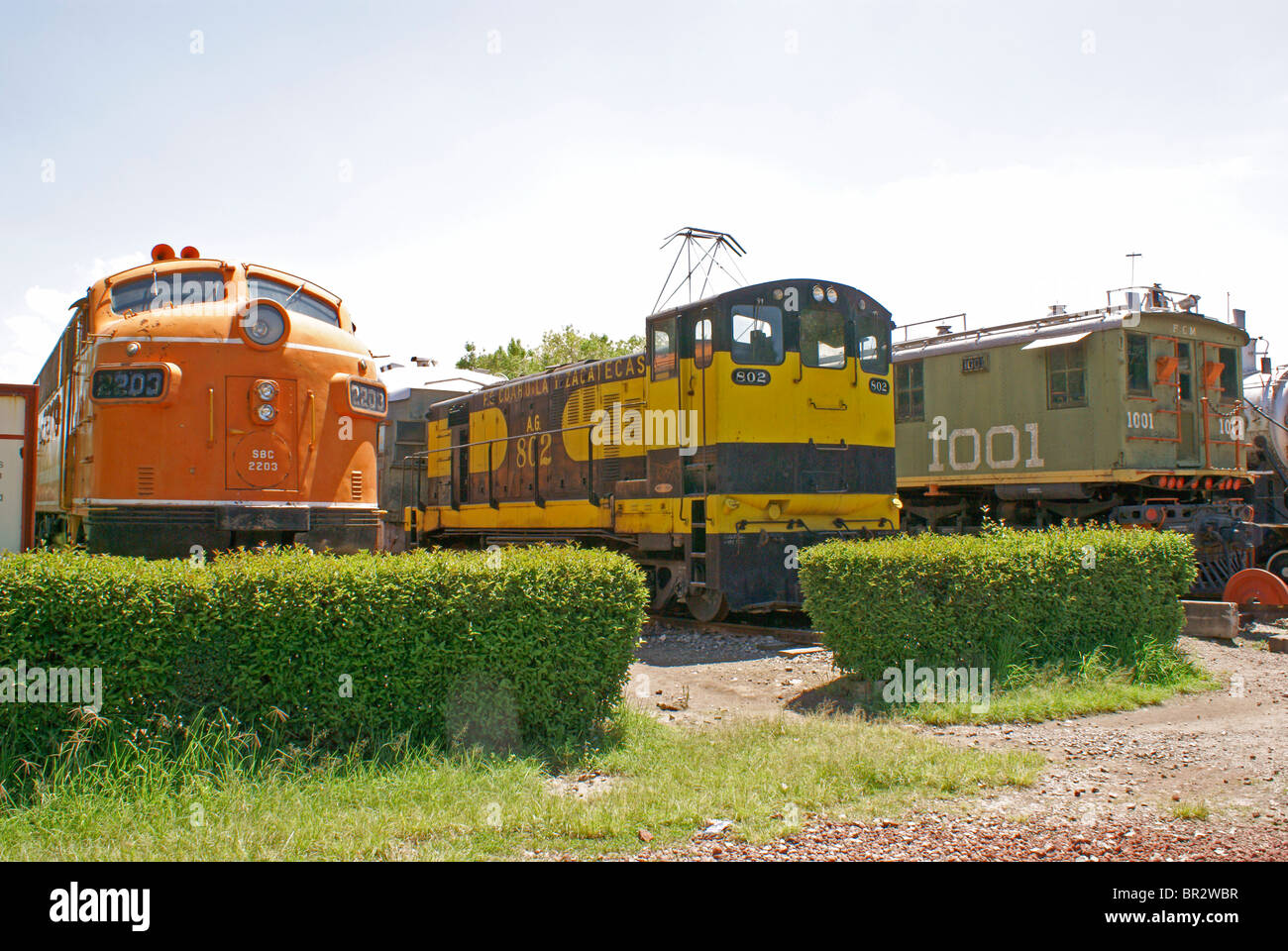 Diesel and electric locomotives at the Museo Nacional de los Ferrocarriles Mexicanos or National Railway Museum, - Stock Image