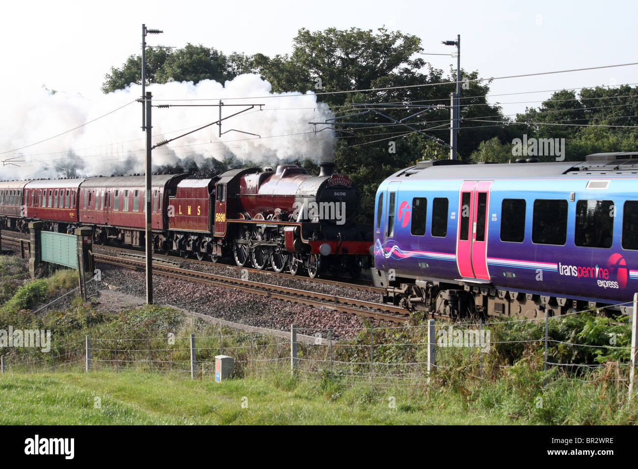 Leander at Bay Horse on the West Coast Mainline with the West Highlander (Day 1) steam special from Liverpool to - Stock Image