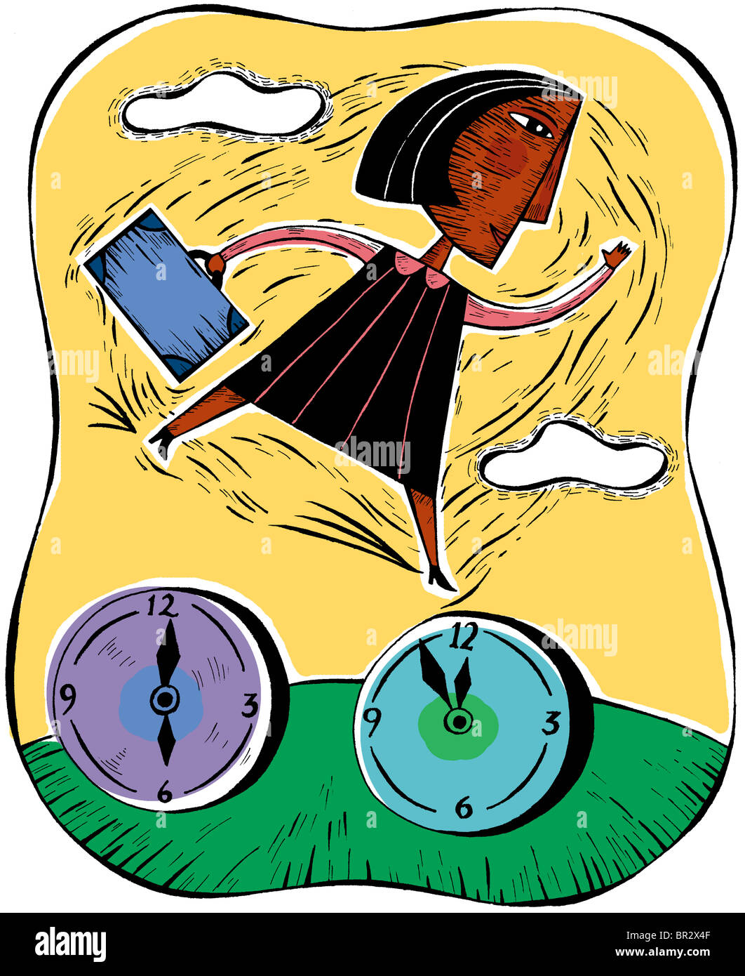 Woman leaping between time clocks - Stock Image