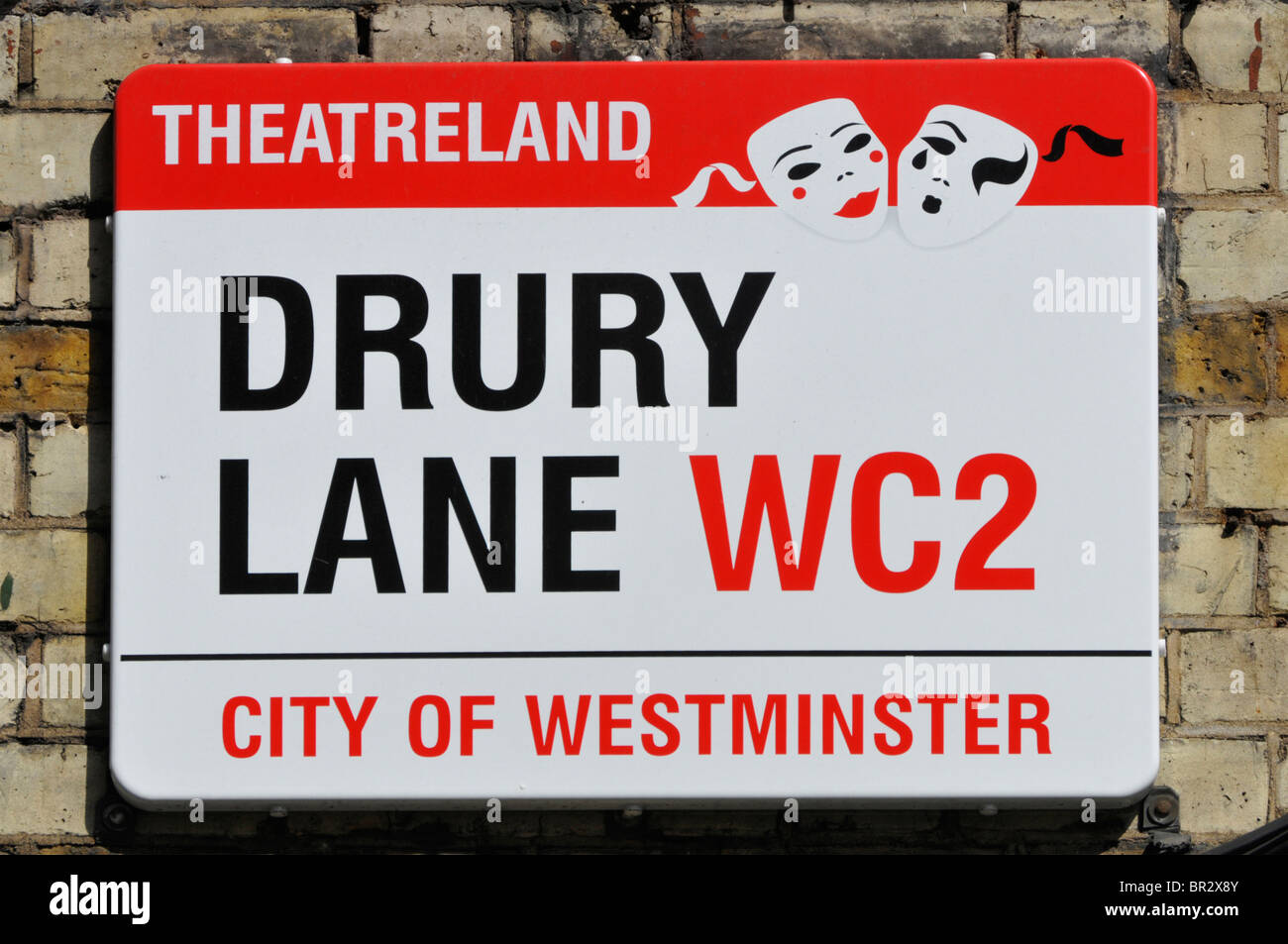 Drury Lane and theatreland street sign - Stock Image
