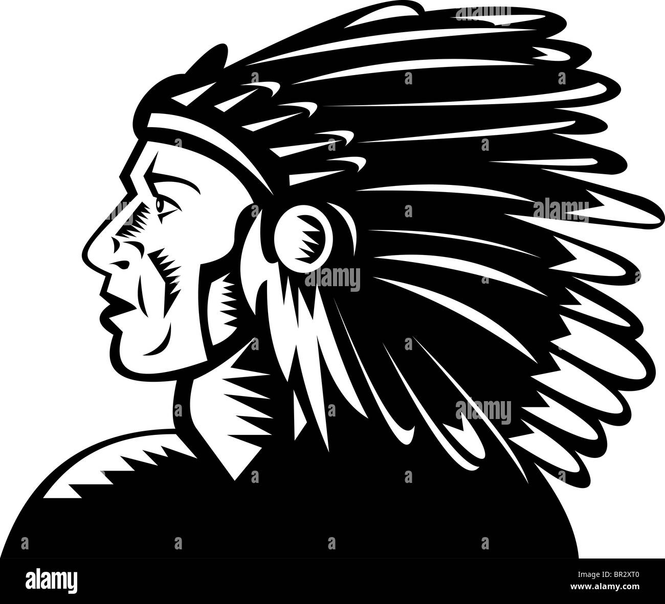 native american indian chief with headdress woodcut style - Stock Image