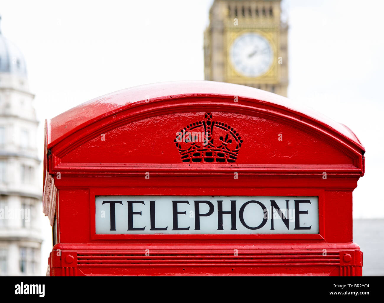 London telephone box with big ben in background - Stock Image