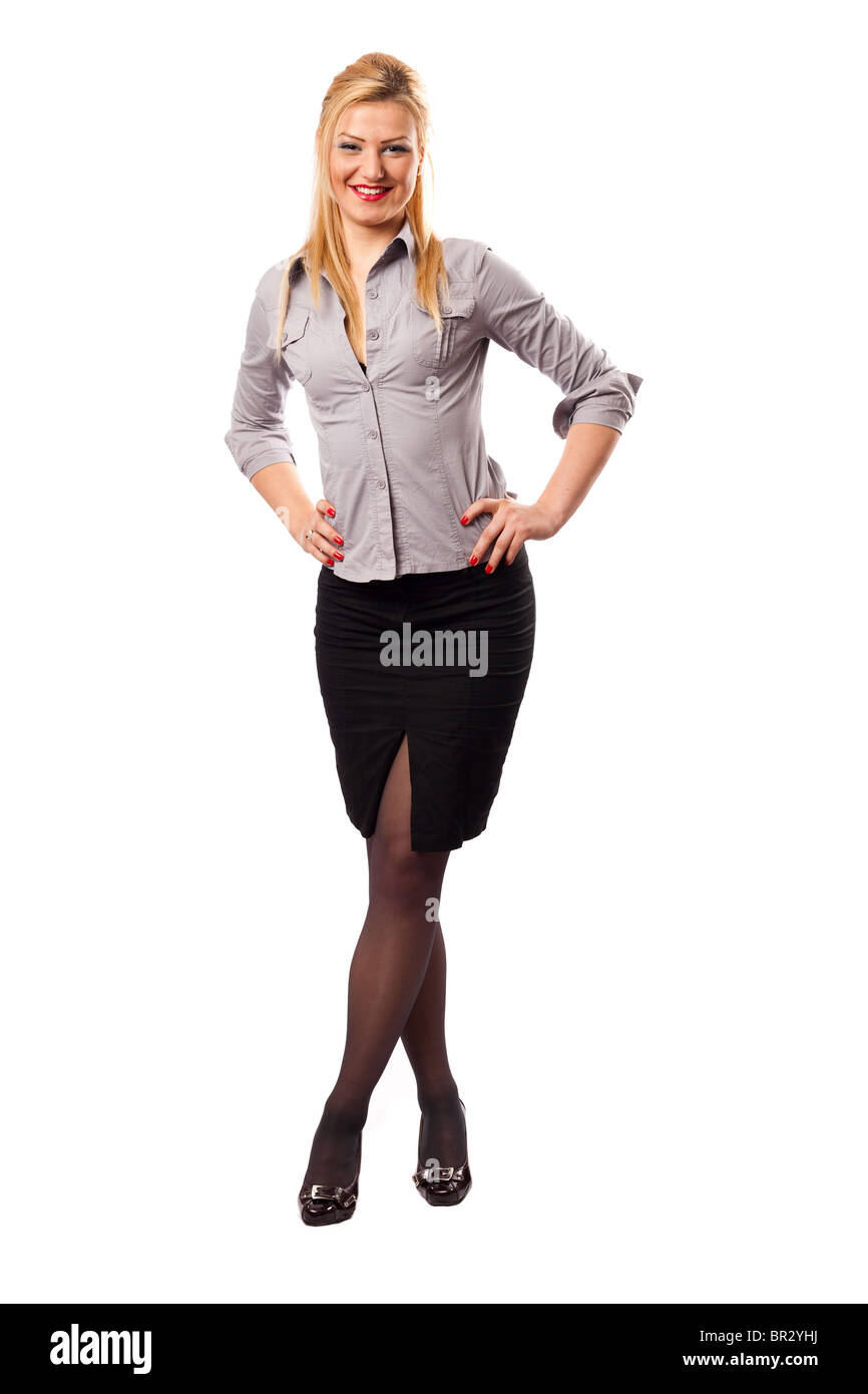 Attractive young blond businesswoman isolated on white background - Stock Image