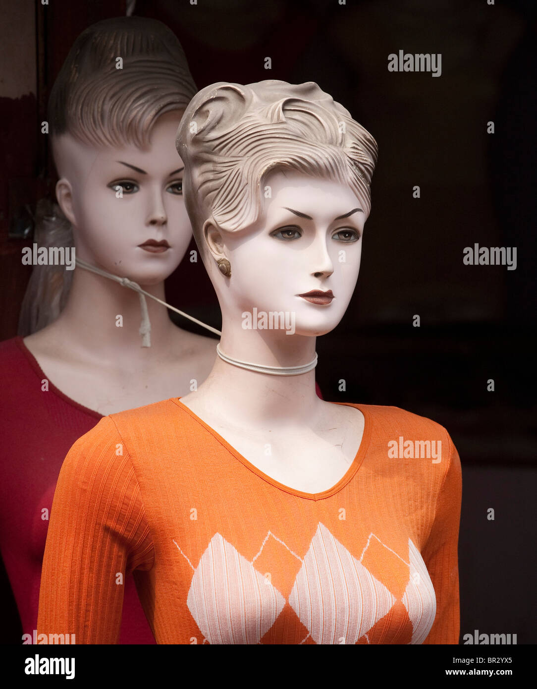 Dummy, mannequin with string around neck. Looks like strangle. - Stock Image