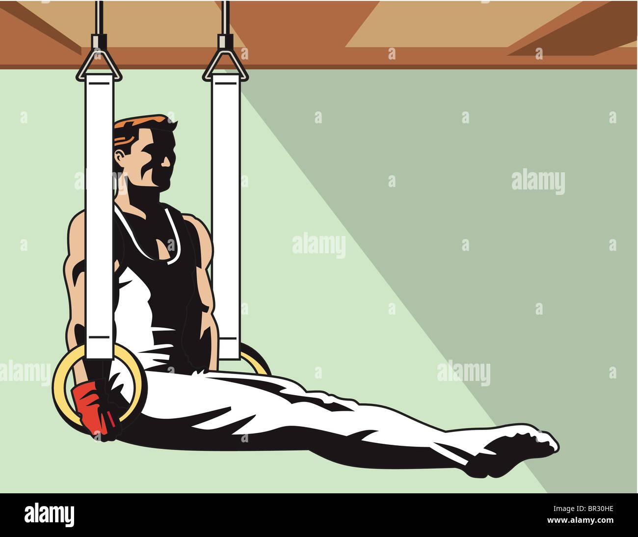 A gymnast balancing on still rings - Stock Image