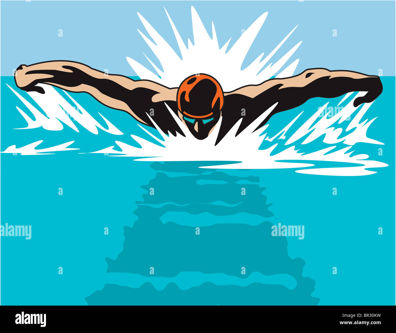 An illustration of a swimmer from a head on perspective - Stock Image