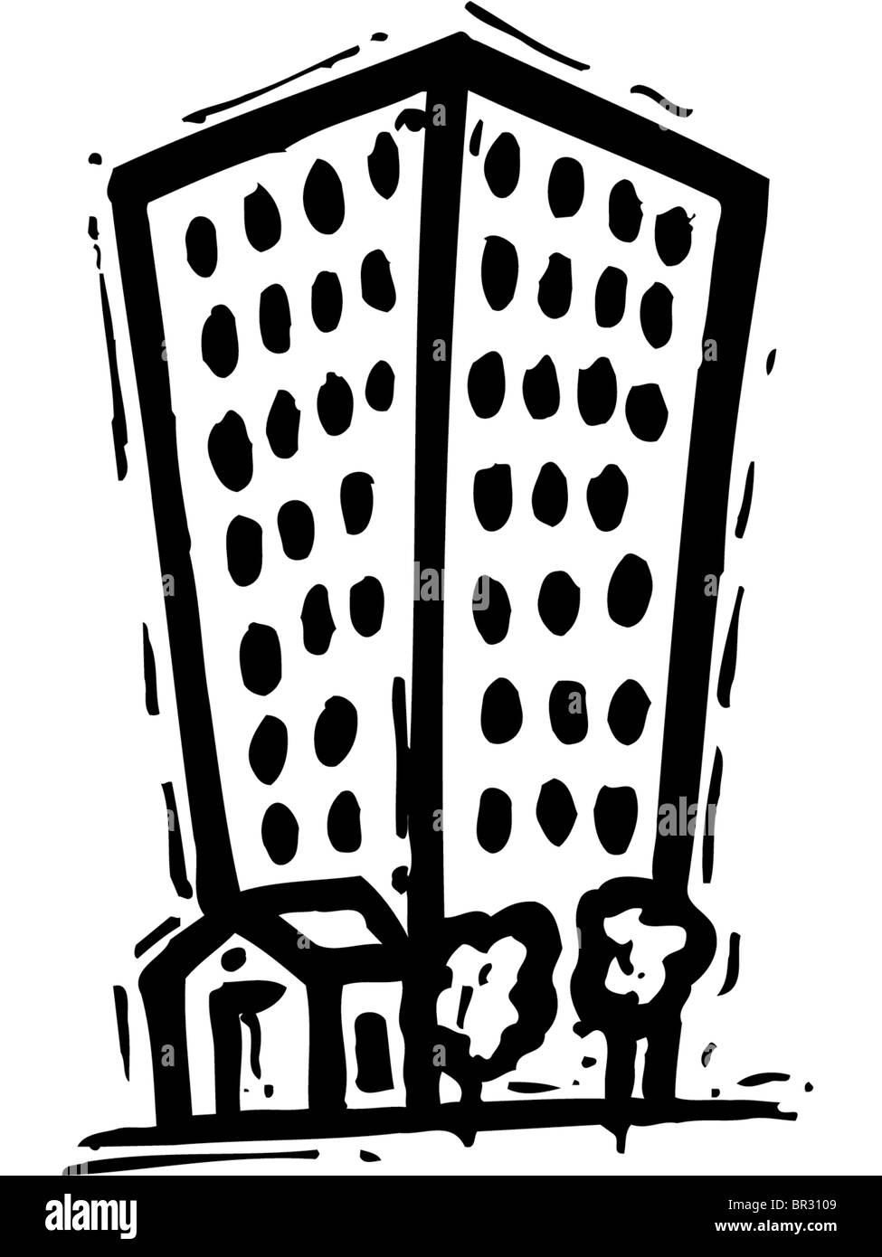 A Black And White Pictorial Illustration Of High Rise Apartment