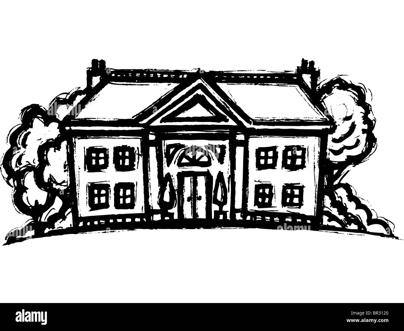 A Black And White Drawing Of Mansion
