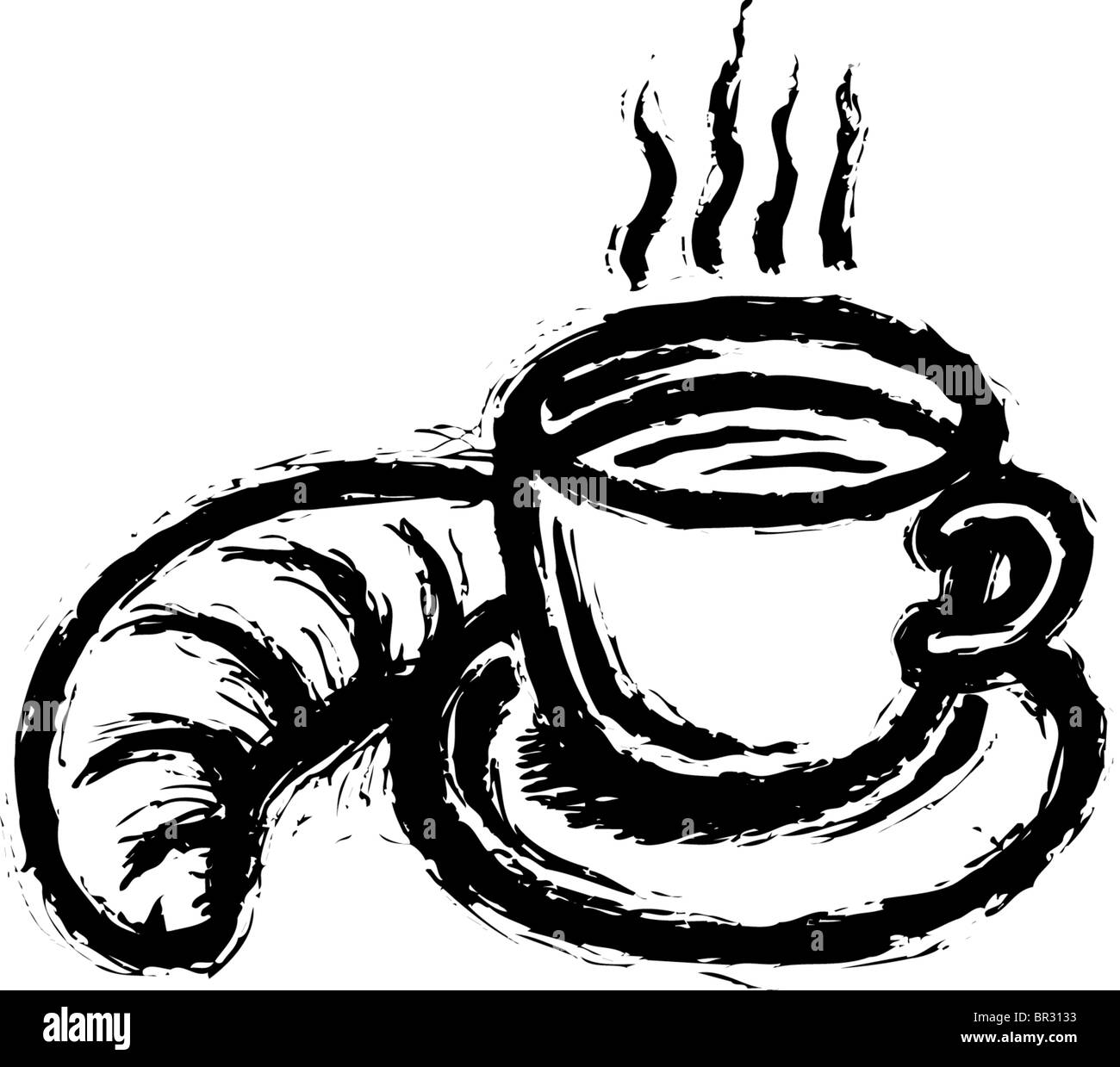 A black and white drawing of a hot drink and a croissant stock photo a black and white drawing of a hot drink and a croissant buycottarizona Gallery
