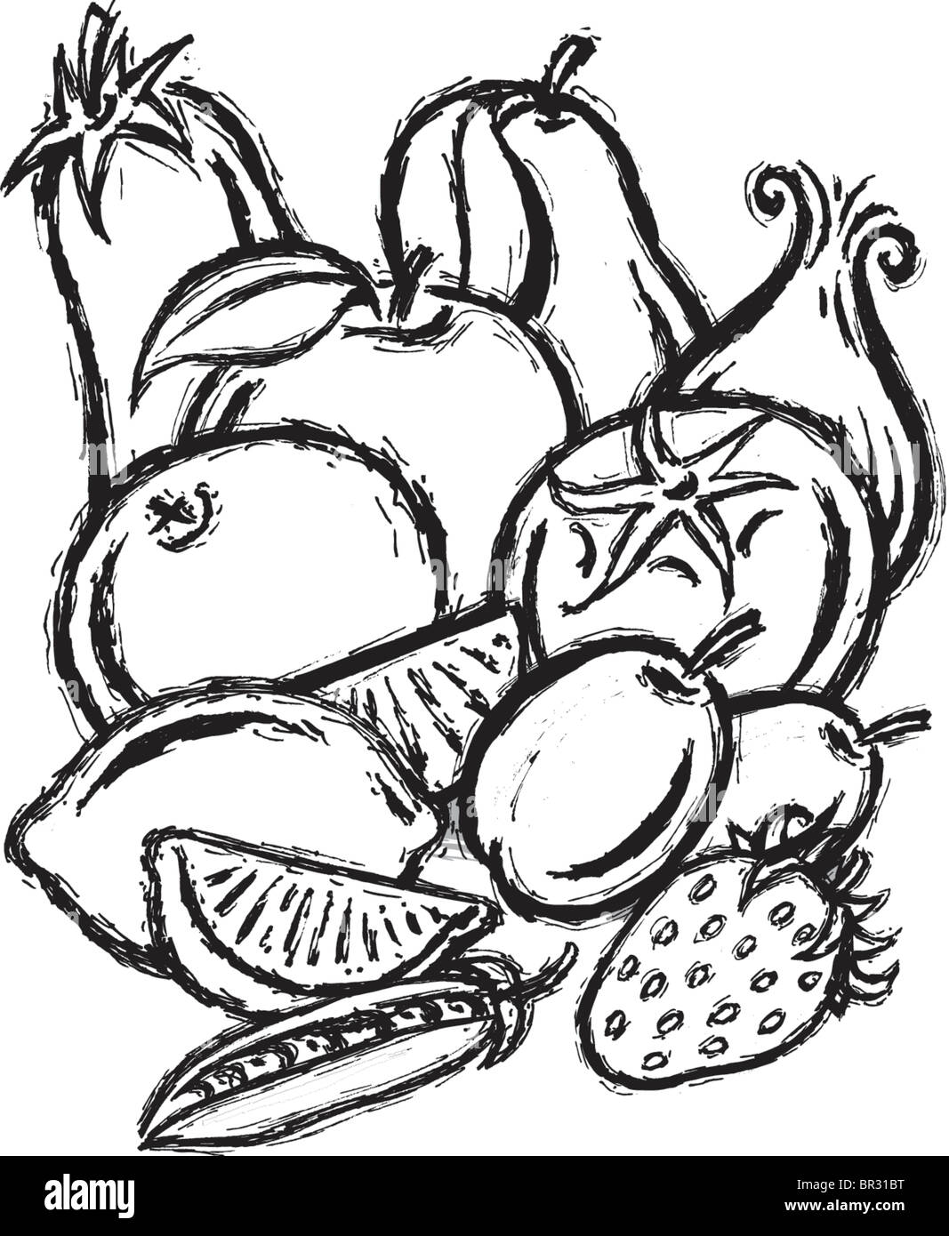 A black and white illustration of fruit and vegetable medley - Stock Image