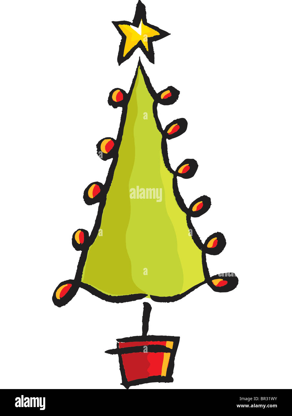 a drawing of a whimsical christmas tree stock image