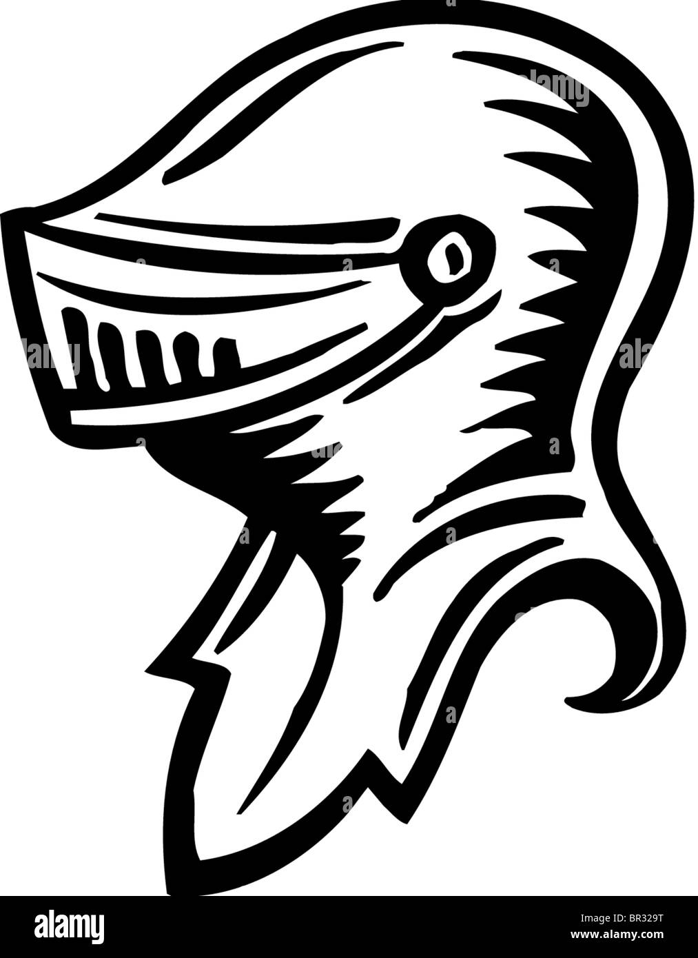A picture of a knights helmet in black and white - Stock Image