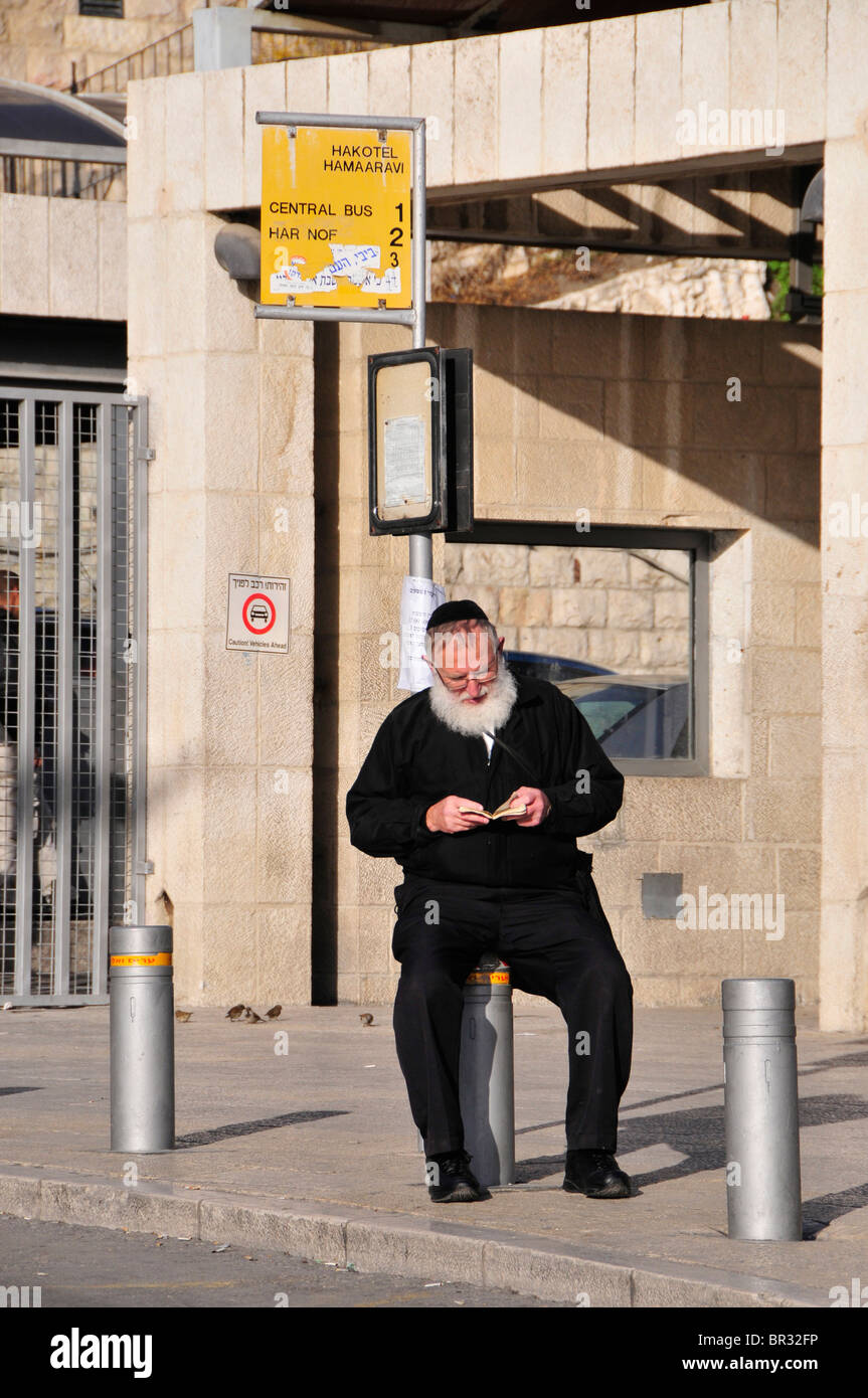 Orthodox Jew with prayer book waiting at a bus stop, Jerusalem, Israel, Middle East, the Oriet - Stock Image