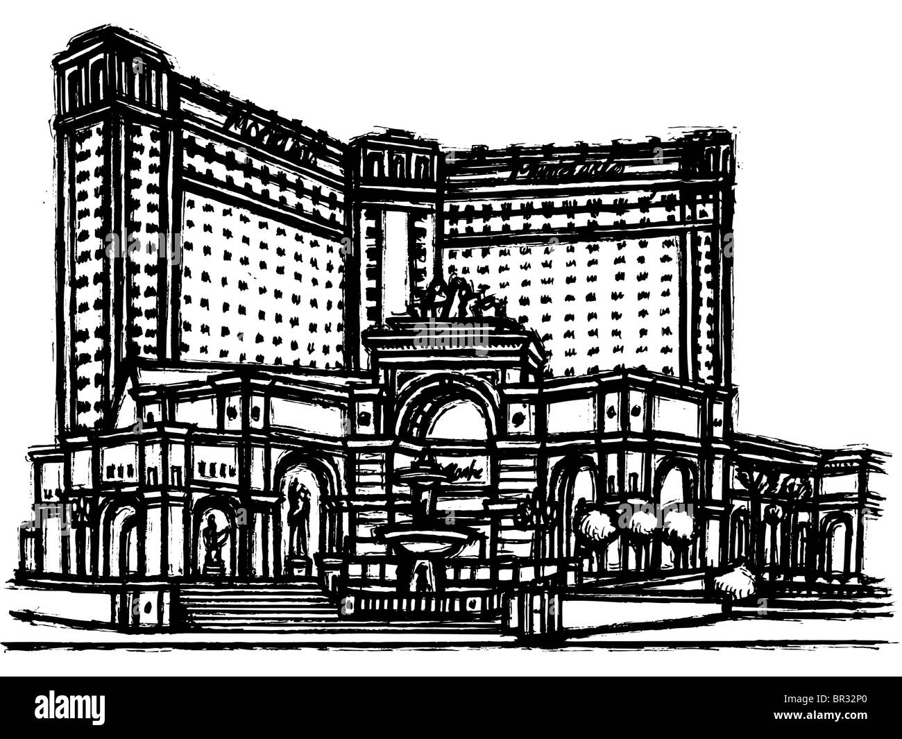 A black and white illustration of a luxurious hotel - Stock Image