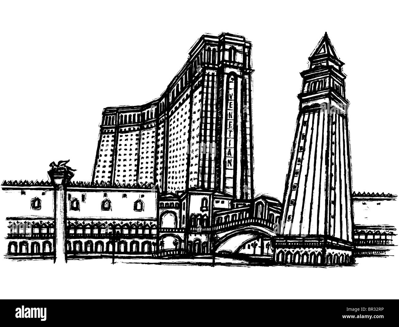 A black and white illustration of The Venetian hotel with its tower - Stock Image