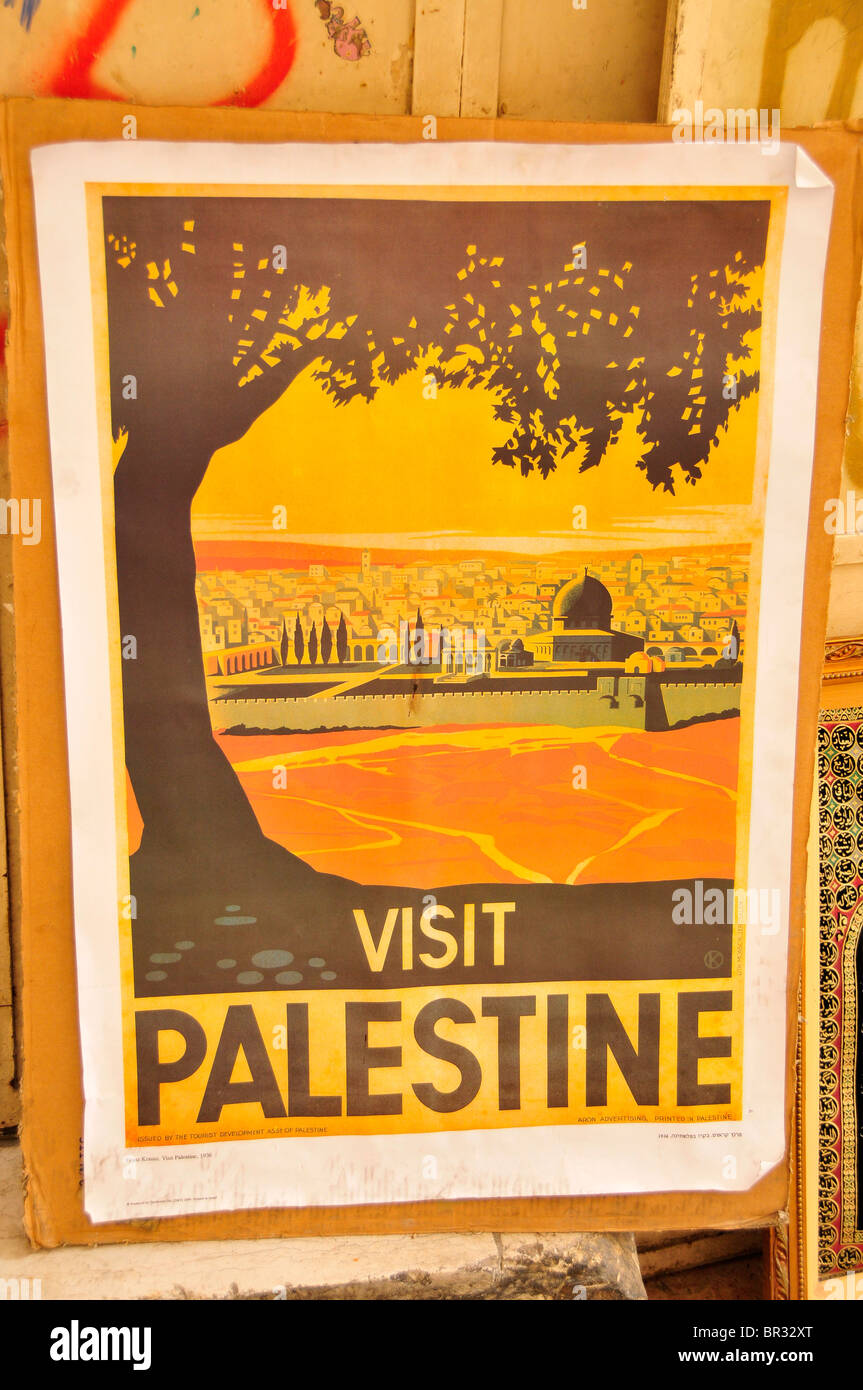 Poster 'Visit Palestine' on the wall of a house, Jerusalem, Israel, Middle East, the Orient - Stock Image