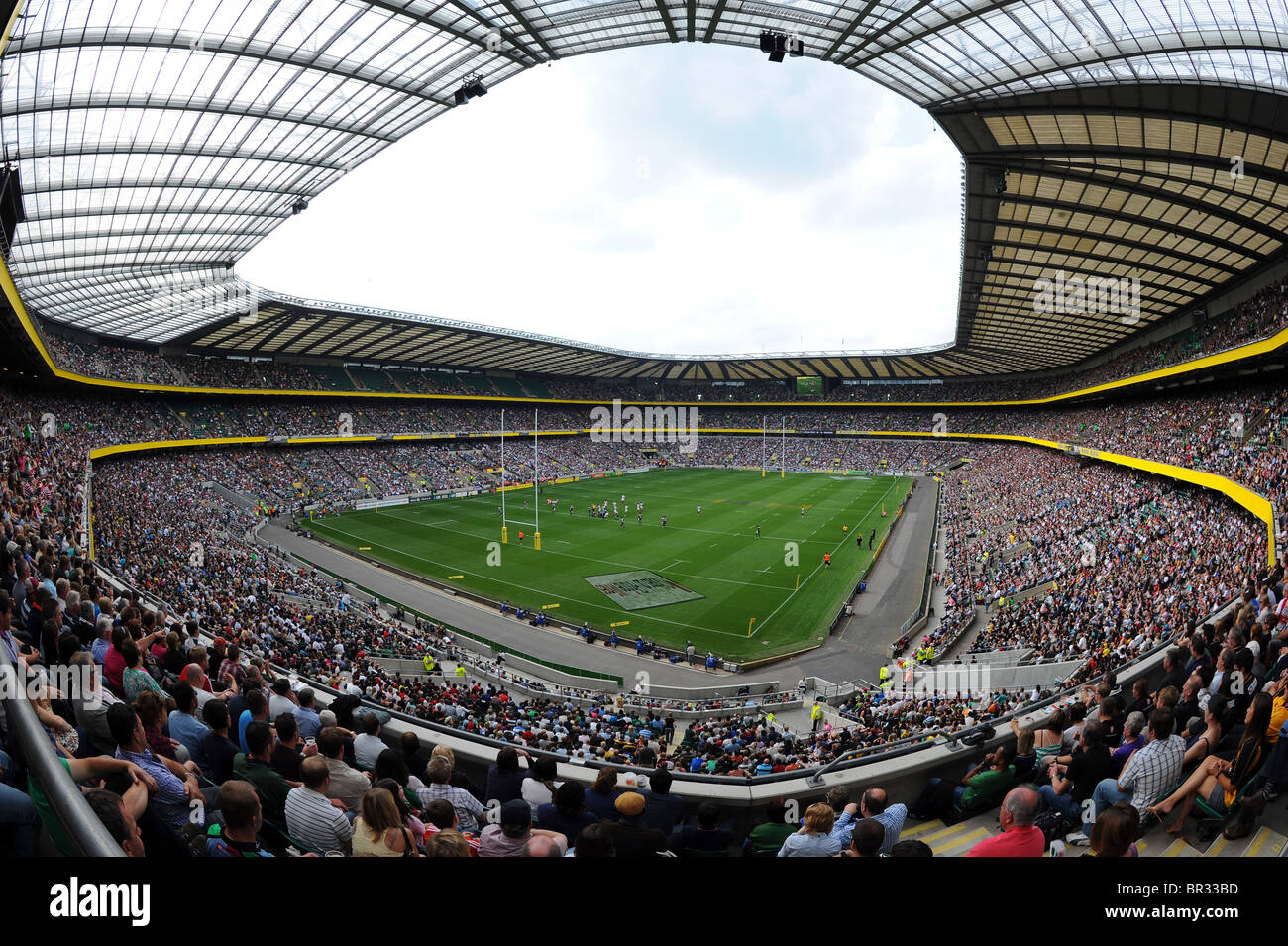 View inside a full Twickenham Stadium, London. Home of the English Rugby Football Union or RFU - Stock Image