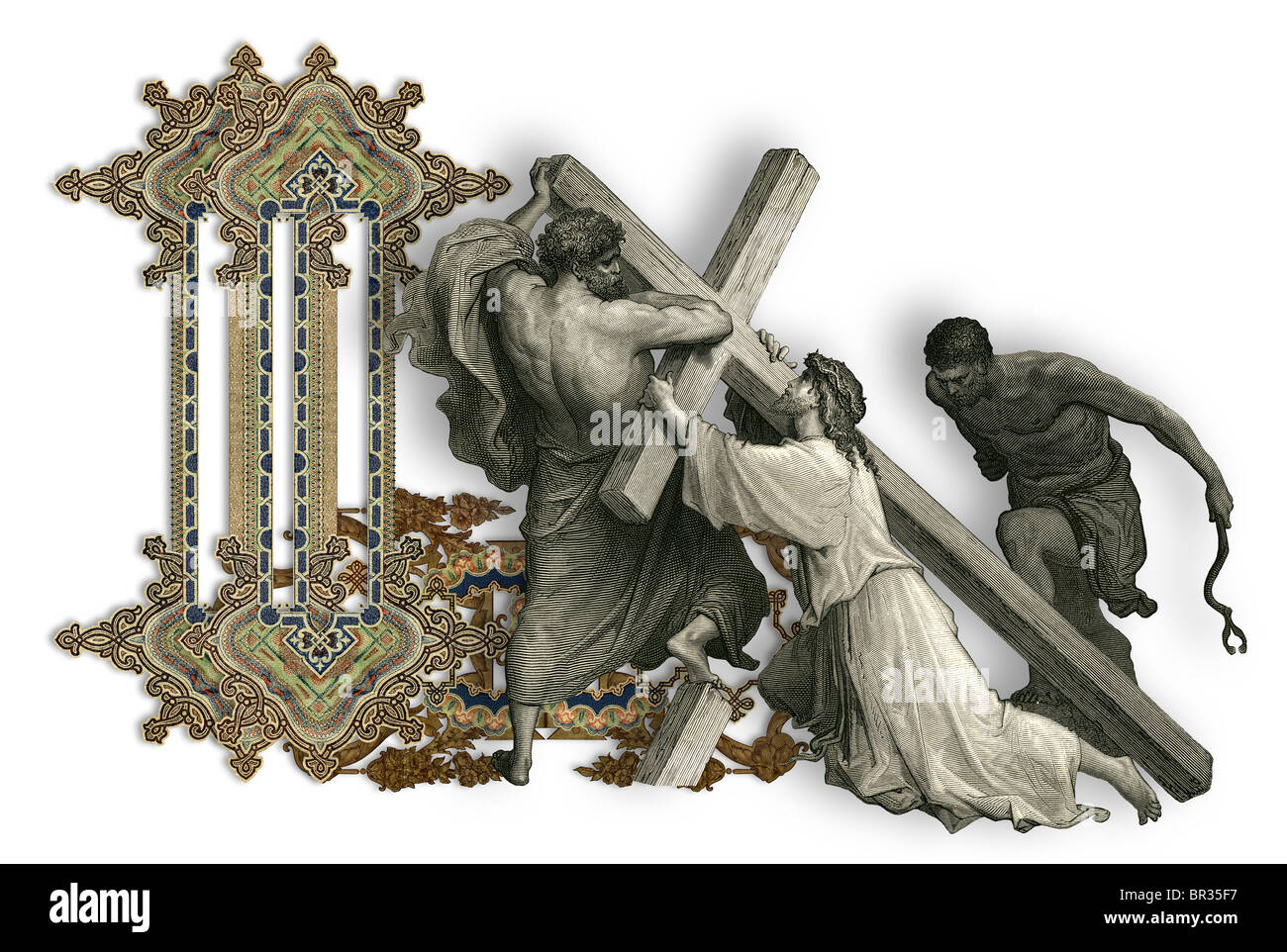 Victorian letter l with jesus christ enfeebled by the weight of the victorian letter l with jesus christ enfeebled by the weight of the cross thecheapjerseys Gallery