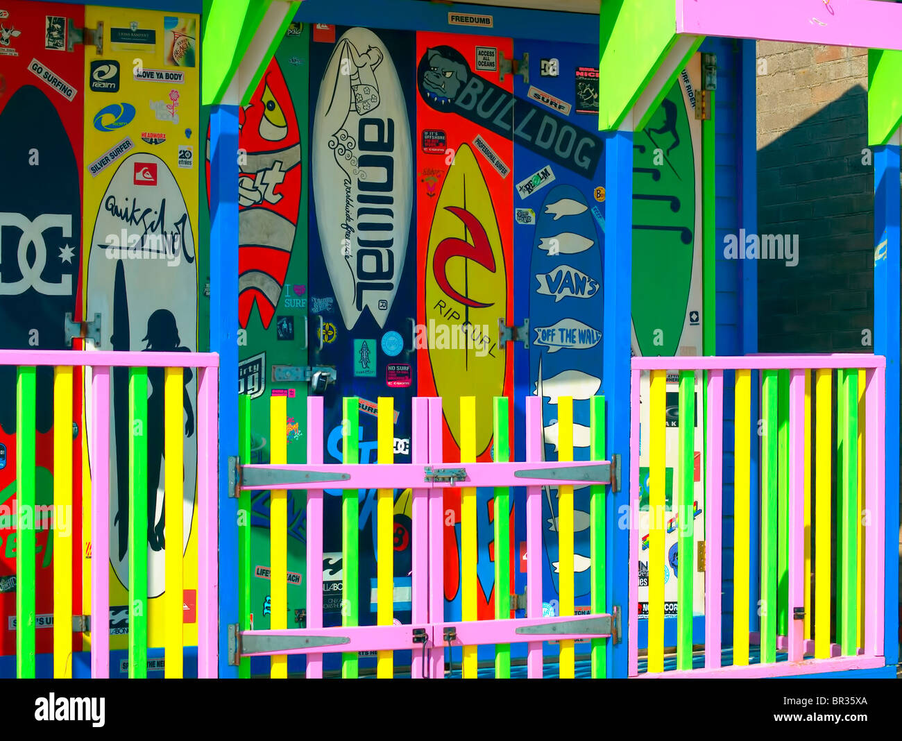 The front of a colorful,decorated beach hut at Sutton-on-sea,Lincolnshire,UK. - Stock Image