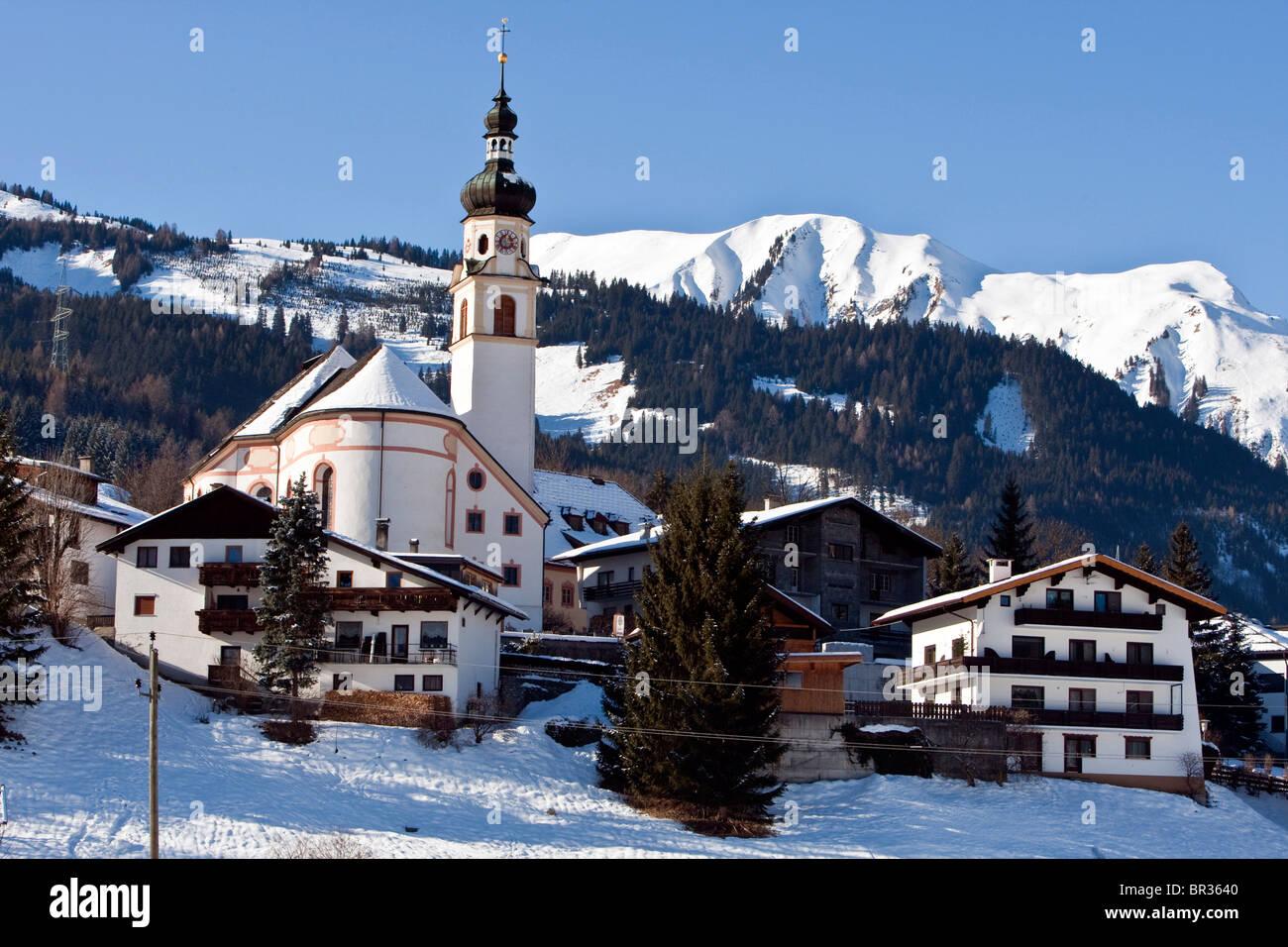 Village in winter, Lermoos, Zugspitz Arena, Tyrol, Austria, Europe - Stock Image