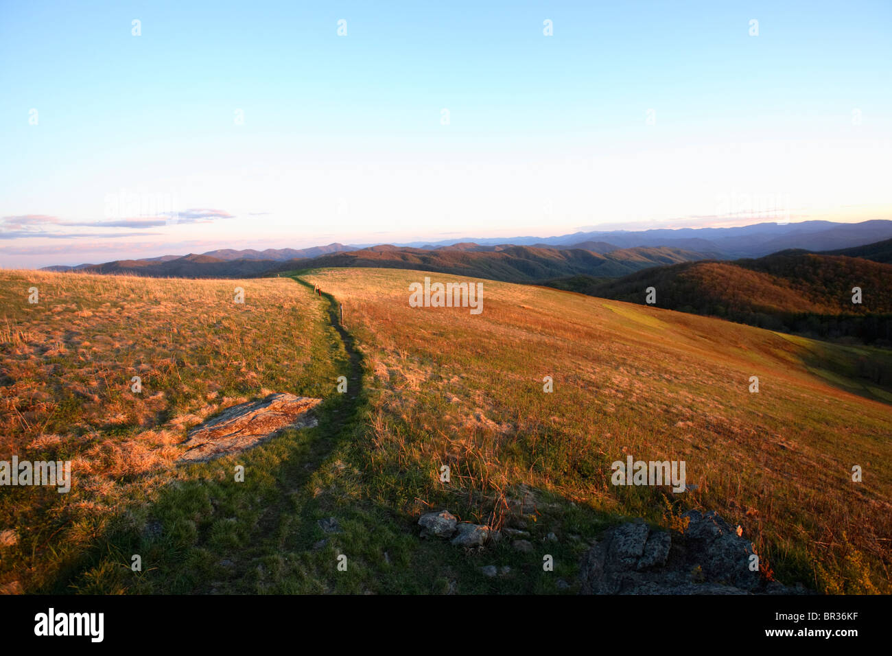 View down the final stretch of the Appalachian Trail to the summit of Max Patch Bald west of Asheville, NC at sunset. - Stock Image