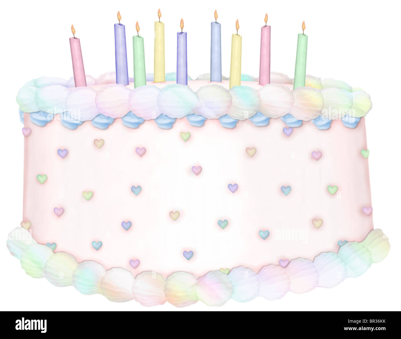 Remarkable A Pretty Birthday Cake With Nine Candles Stock Photo 31418567 Alamy Personalised Birthday Cards Veneteletsinfo