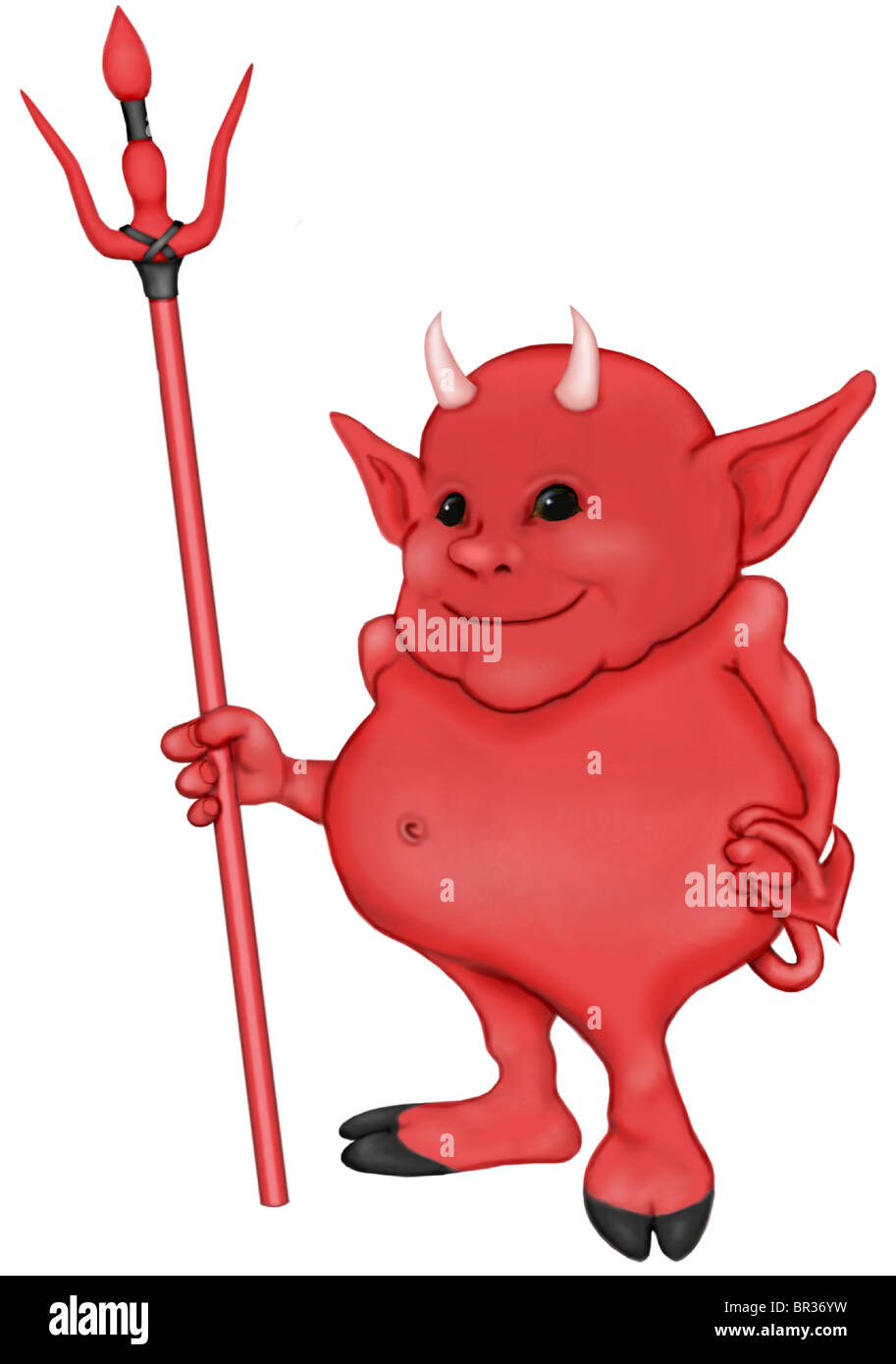 A cartoon type illustration of a little devil with a pitch fork - Stock Image