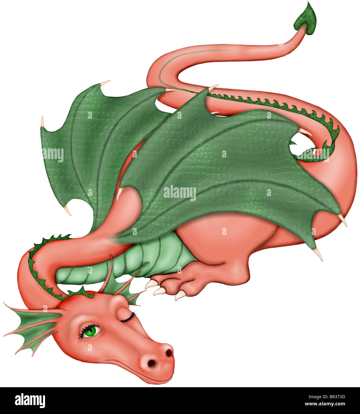 An illustration of a dragon waking from its slumber - Stock Image