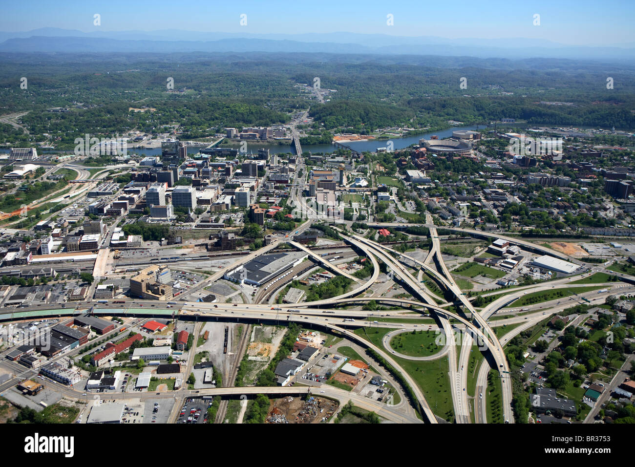 aerial view of downtown knoxville tn along the tennessee river and