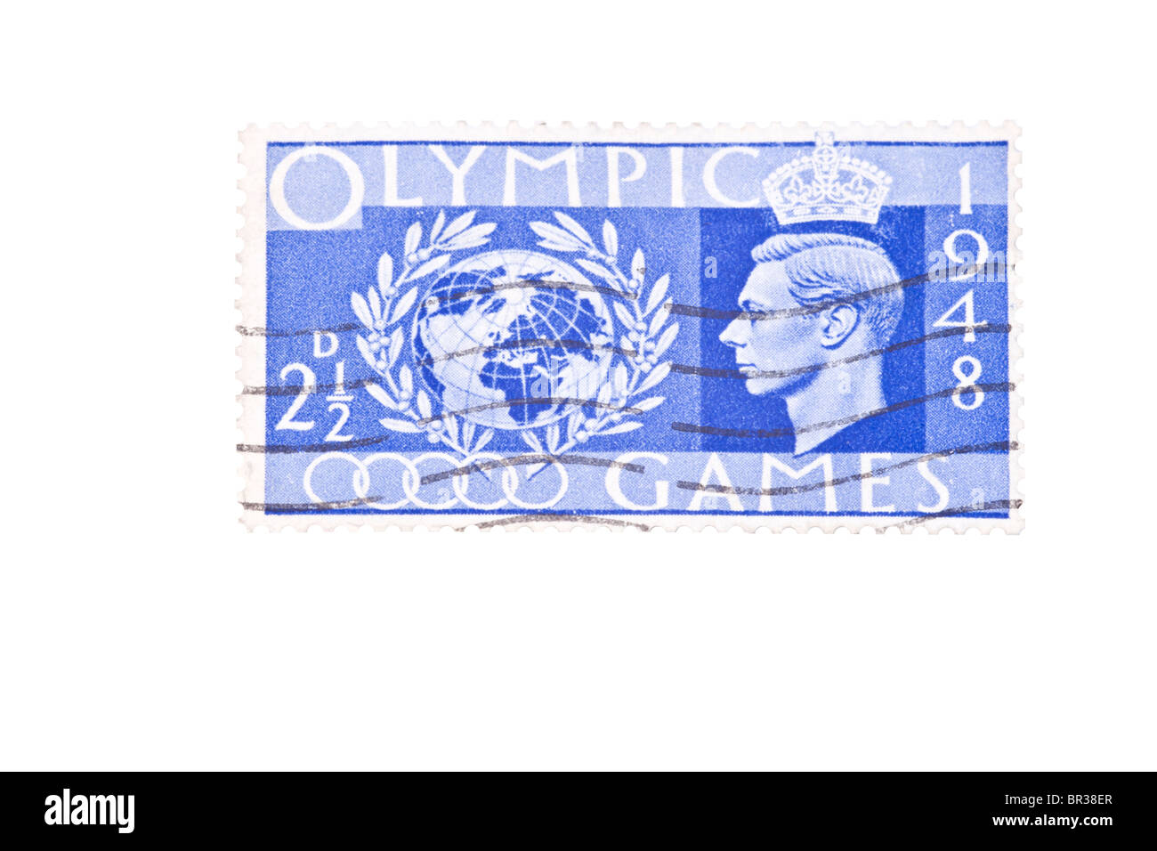 2½d stamp from the 1948 Olympic Games special issue. - Stock Image