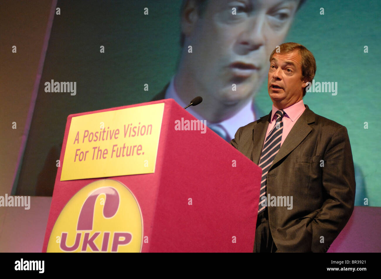 Nigel Farage MEP speaking at the UKIP conference in Torquay Devon September 2010 - Stock Image