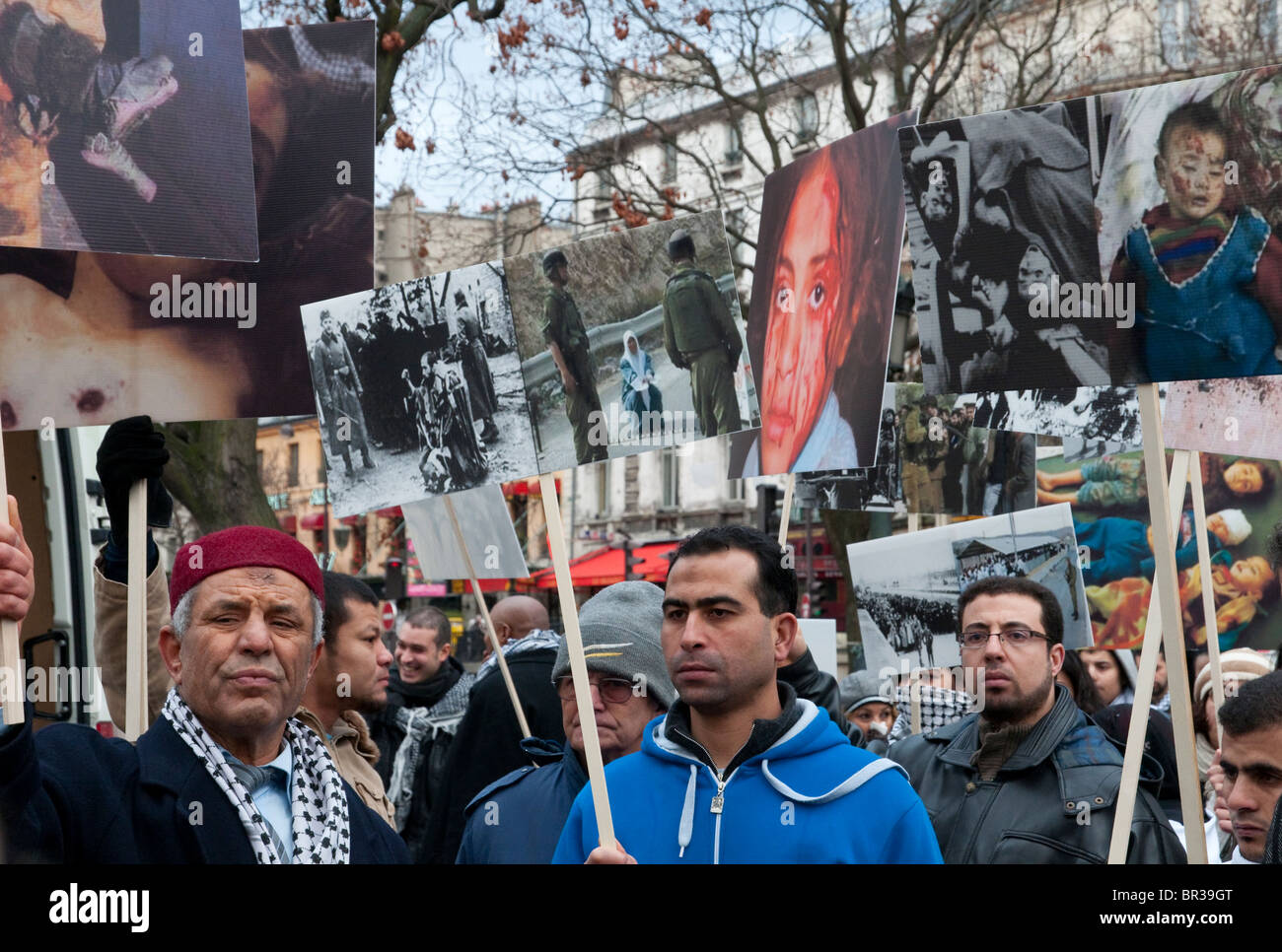 demonstration on the anniversary day of the cast lead israeli military operation in Gaza - Stock Image