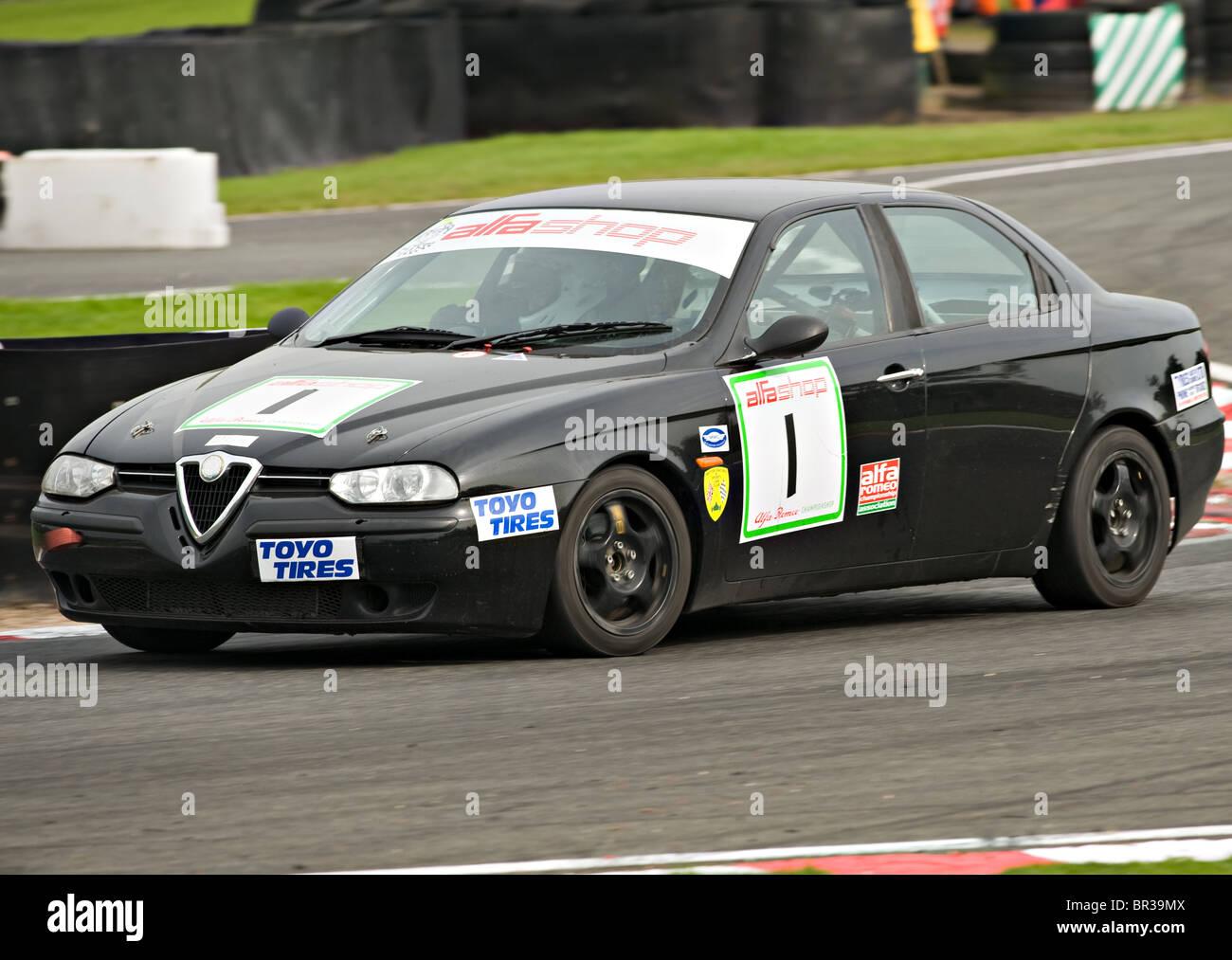 Alfashop Alfa Romeo 156 Saloon Race Car at Oulton Park Motor Racing Circuit Cheshire England United Kingdom UK Stock Photo