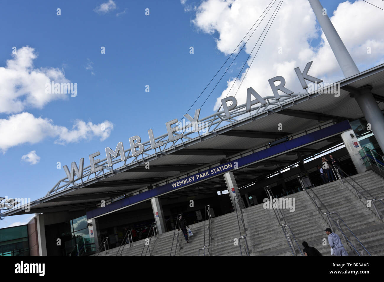 From Wembley Park Station to Wembley Stadium, all steeped in footballing history. - Stock Image