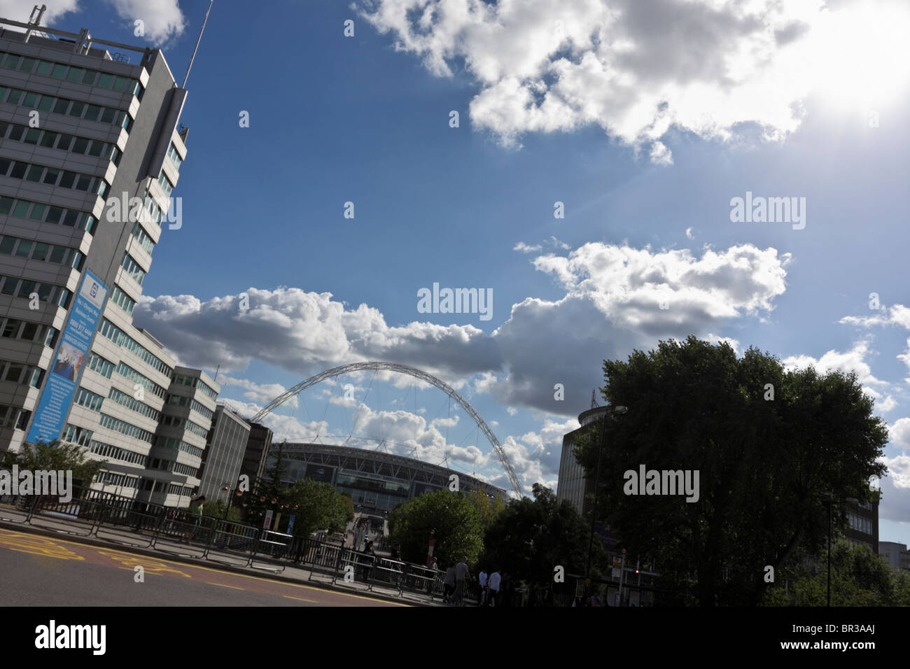 Angled aspect of the modern and easily recognizable Wembley Stadium viewed from Bridge Road near Wembley Park Station. - Stock Image