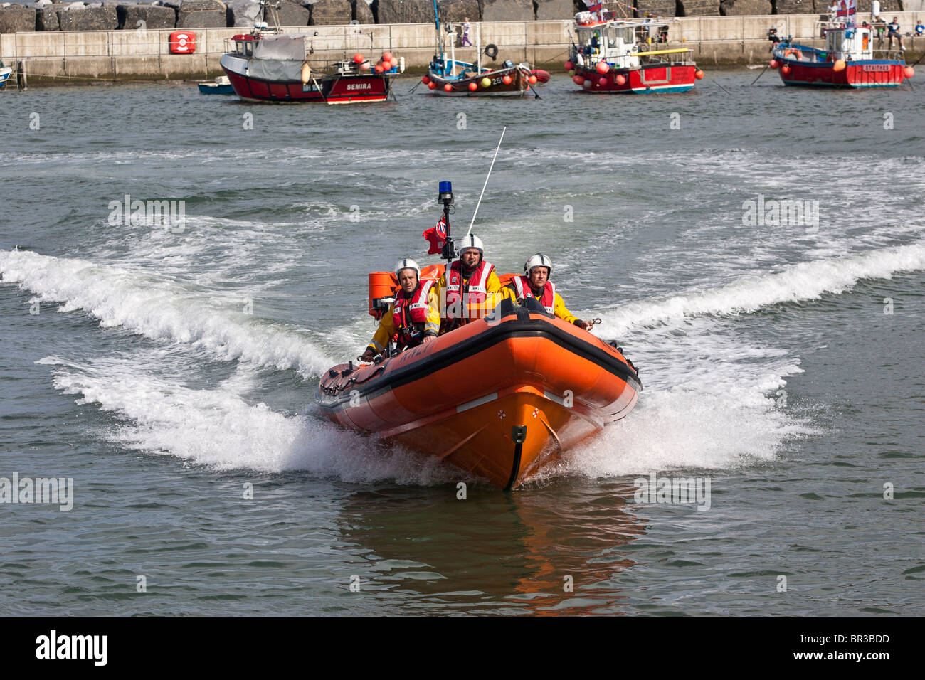 Atlantic 75 Class B RNLI Lifeboat, in the North Sea, off Staithes, North Yorkshire. - Stock Image