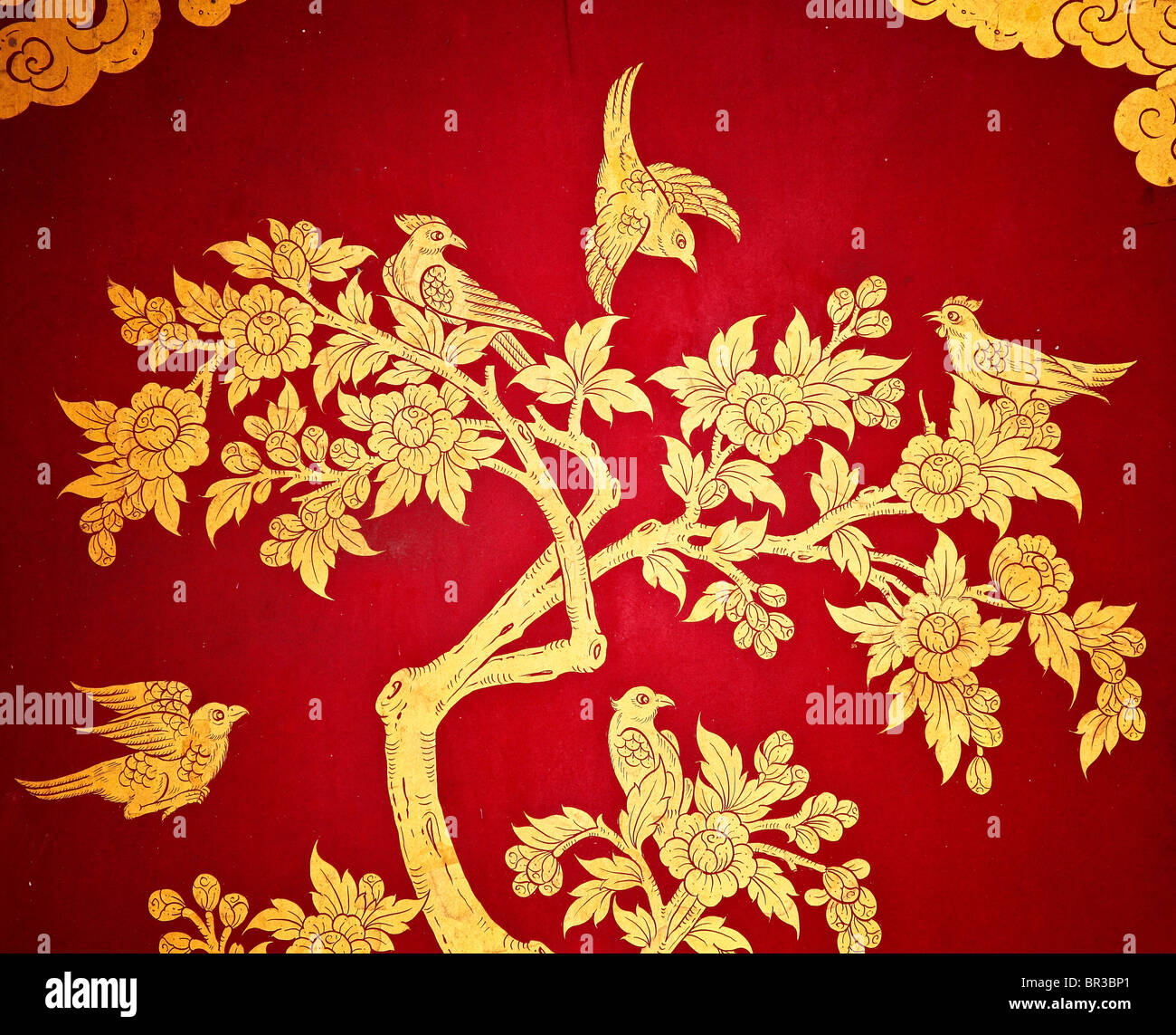 ancient asian art panel with gold decoration - Stock Image