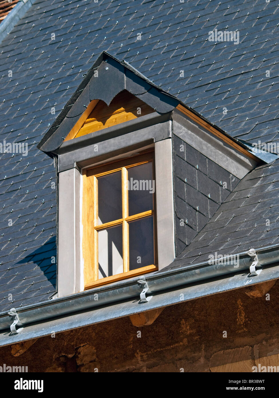 Newly renovated attic dormer roof - France. - Stock Image