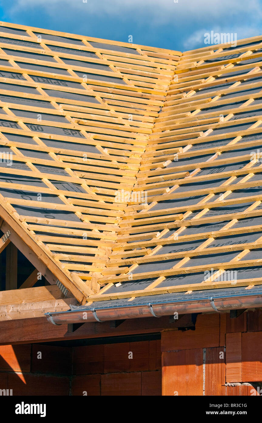 New Bungalow Valley Roof Construction Showing Softwood