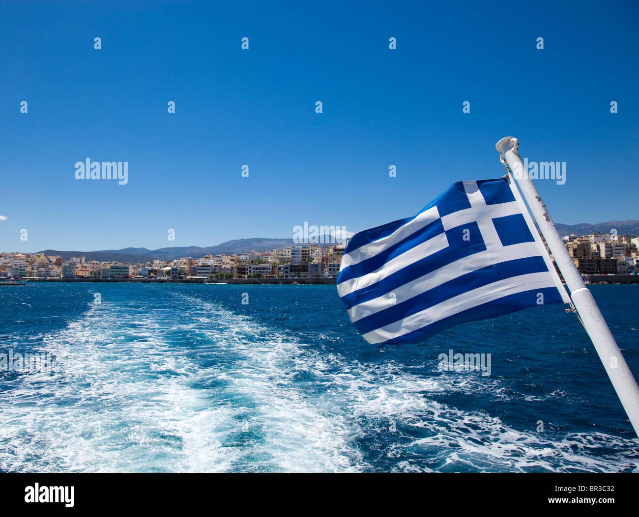 Cretan flag from back of ship - Stock Image
