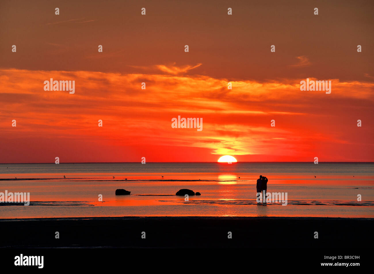 Couple watches sunset together, Skaket beach, Cape Cod, Massachusetts, USA - Stock Image