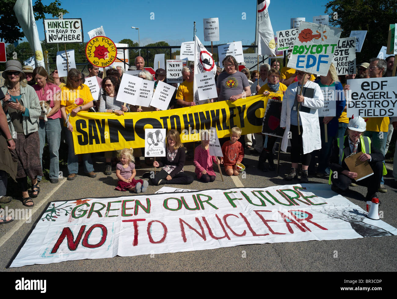 Demonstration against proposals to build a new nuclear power station at Hinkley Point in Somerset September 2010 - Stock Image