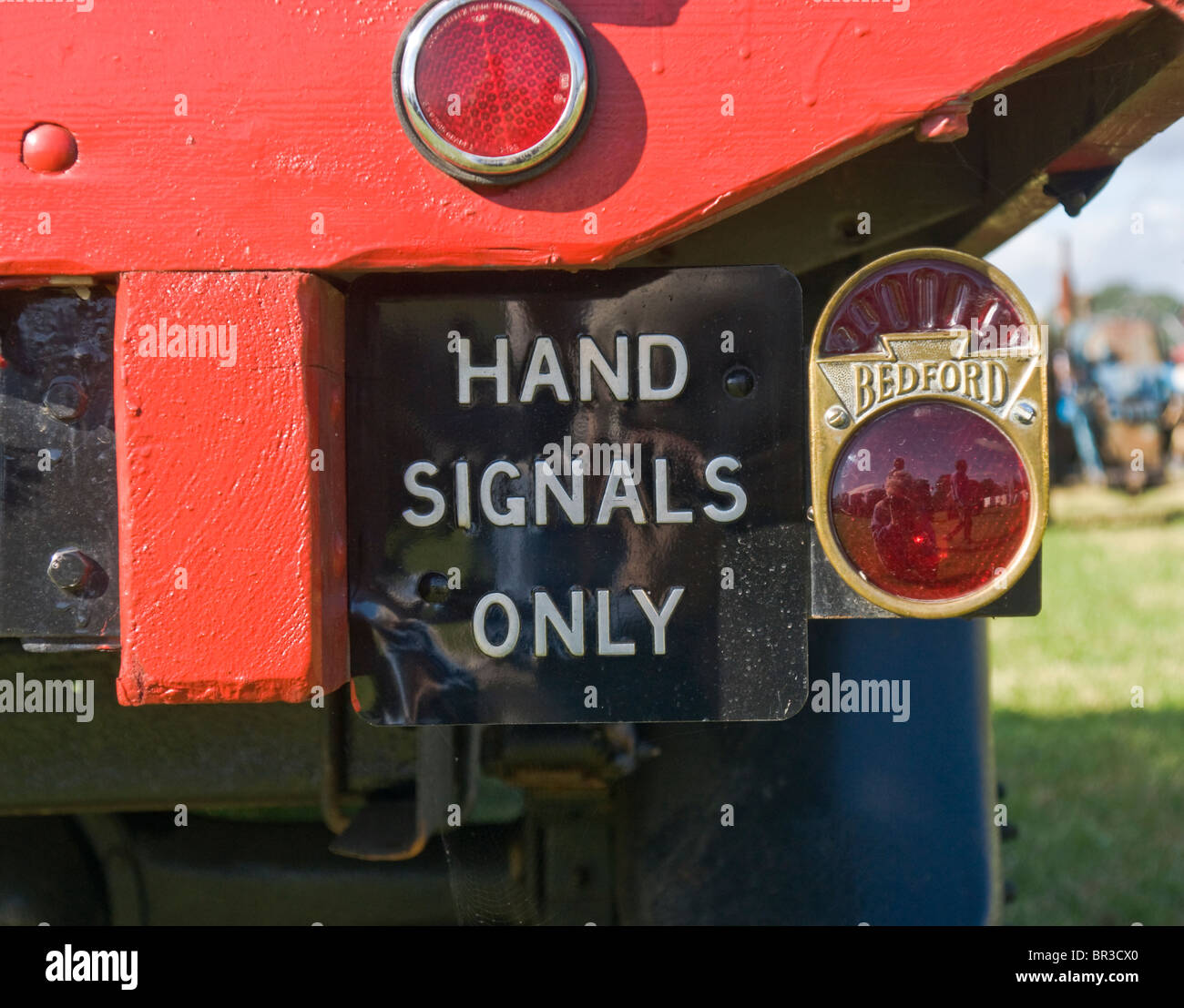 'Hand Signals only' sign on the back of a 1932 Bedford WS 30CWT Tipper Lorry - Stock Image