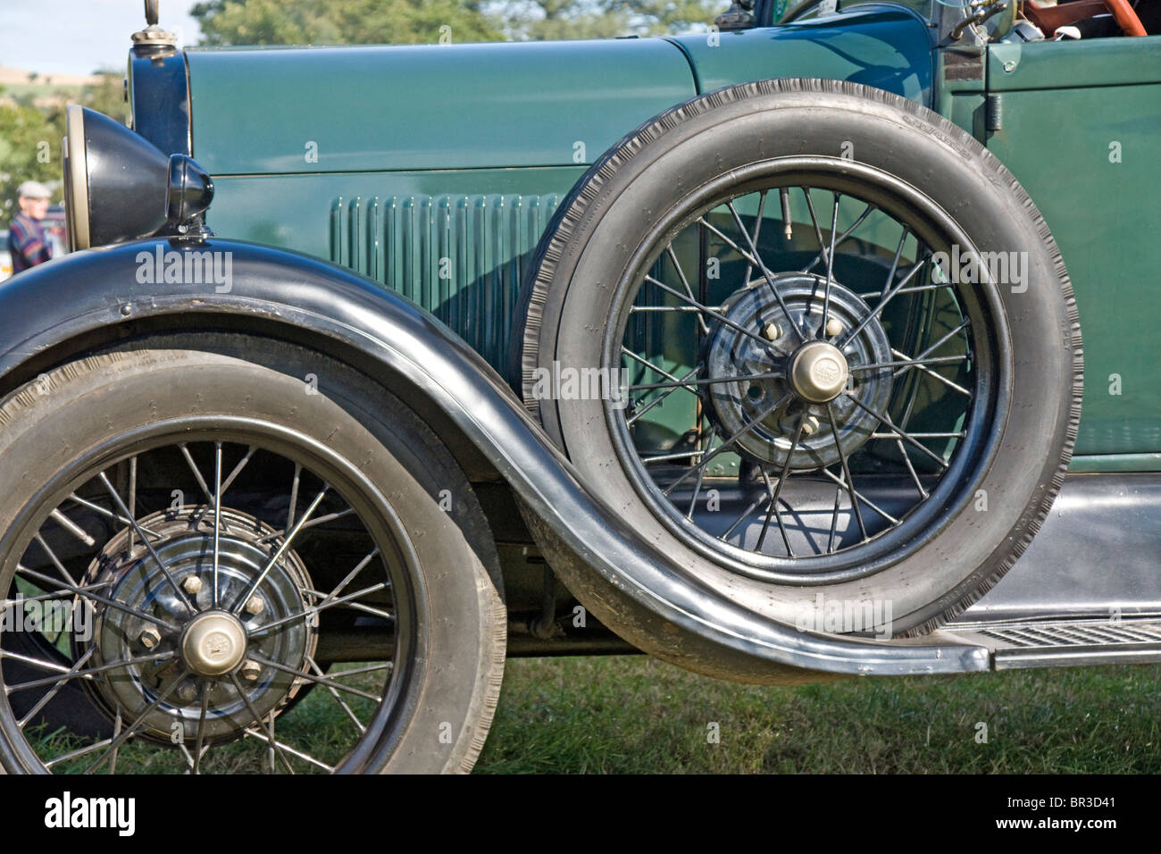 Front nearside wheel and spare wheel on a 1928 model A Ford Pick-up. - Stock Image